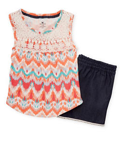 Girls 7-16 Crochet Printed Tank Top with Chambray Shorts - 1617061950067