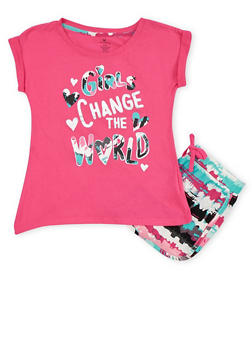 Girls 7-16 Girls Change the World Graphic Top with Printed Shorts - 1617061950072