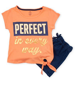 Girls 7-16 Perfect in Every Way Graphic Top with Chambray Shorts - 1617061950077
