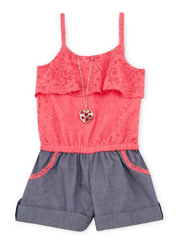 Girls 4-6x Lace Romper with Necklace - 1618021280001