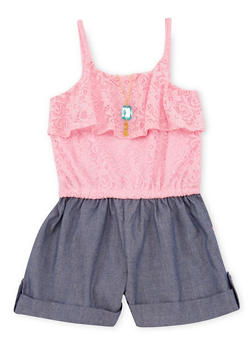 Girls 4-6x Lace Crochet and Denim Romper with Necklace - 1618021280003