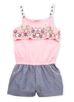 Girls 4-6x Sleeveless Heart Print Romper - 1618021280013