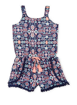 Girls 4-6x Printed Romper with Frayed Trim - 1618023130020