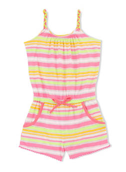 Girls 4-6x Multi Color Striped Romper with Braided Straps - 1618023130022