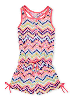 Girls 4-6x Chevron Tank Romper with Ruched Sides - 1618023130023