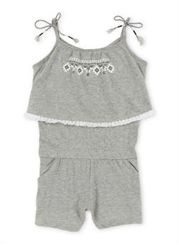 Girls 4-6x Sleeveless Tribal Romper with Tassel Trim - 1618023130034