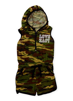 Girls 4-6x Love Graphic Camouflage Romper with Hood - 1618038340013