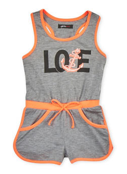Girls 4-6x Love Graphic Romper with Contrast Trim - 1618038340016