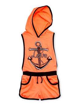 Girls 4-6x Sleeveless Anchor Graphic Hooded Romper - 1618038340017