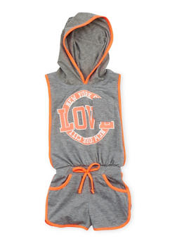 Girls 4-6x Hooded Love Graphic Romper with Open Sides - HEATHER - 1618038340020