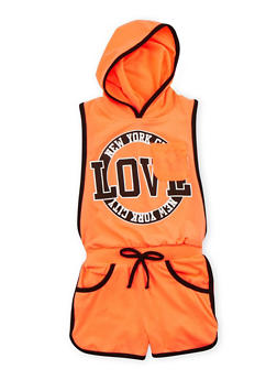 Girls 4-6x Hooded Love Graphic Romper with Open Sides - CORAL - 1618038340020