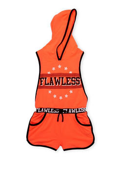 Girls 4-6x Flawless Graphic Hooded Romper with Open Sides - 1618038340022