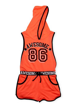 Girls 4-6x Awesome 86 Graphic Hooded Romper with Open Sides - 1618038340023