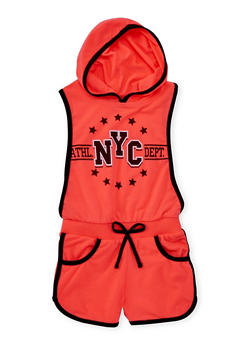 Girls 4-6x Hooded NYC Graphic Romper with Open Sides - 1618038340025