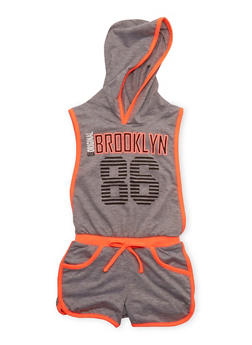 Girls 4-6x Brooklyn 86 Graphic Romper with Open Sides - HEATHER - 1618038340026