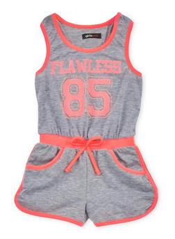 Girls 2T-8 Sleeveless Graphic Romper - 1618038340028