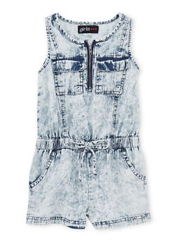 Girls 4-6x  Sleeveless Acid Wash Half Zip Denim Romper - 1618038340031