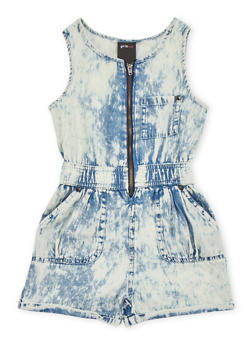 Girls 4-6x Acid Wash Zip Up Romper - 1618038340033