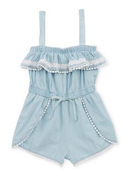 Girls 4-6x Light Blue Denim Romper with Crochet Trimmed Ruffle - 1618038340036
