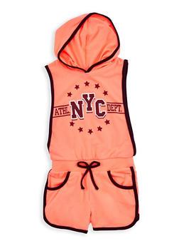 Girls 4-6x NYC Graphic Contrast Trim Romper - 1618038340043