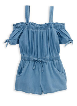 Girls 4-6x Off the Shoulder Denim Romper - 1618038340077