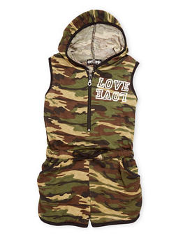 Girls 4-6x Hooded Camouflage Romper - 1618038349334