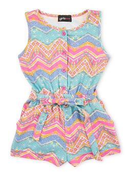 Girls 4-6x Multi Color Printed Romper with Sash Belt - 1618051060006