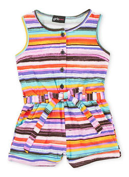 Girls 4-6x Multi Color Printed Romper with Sash Belt - FUCHSIA - 1618051060006