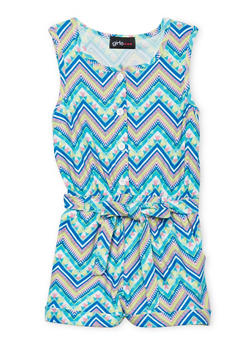 Girls 4-6x Sleeveless Printed Romper with Sash Belt - 1618051060009
