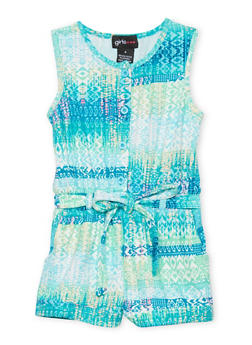 Girls 4-6x Sleeveless Printed Romper with Sash Belt - TURQUOISE COMBO - 1618051060009