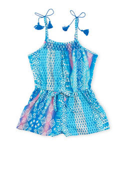 Girls 4-6x Printed Romper with Tassel Details - ROYAL - 1618051060011