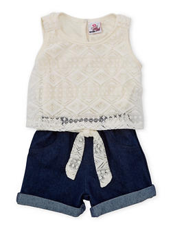 Girls 4-6x Lace and Denim Cuffed Romper - WHITE - 1618054730001
