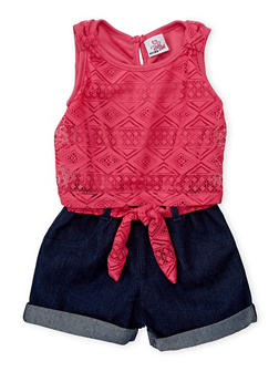 Girls 4-6x Lace and Denim Cuffed Romper - PINK S - 1618054730001