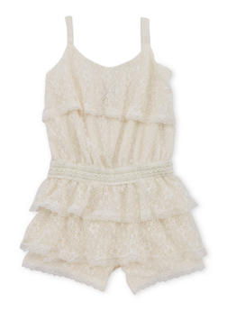 Girls 4-6x Lace Tiered Romper with Detailed Waist - 1618054730003