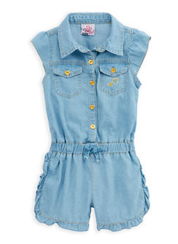 Girls 4-6x Button Front Denim Romper - 1618054730011