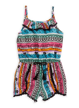 Girls 4-6x Printed Tank Romper - 1618054730022