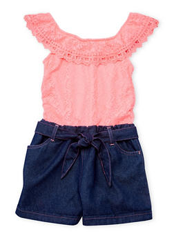 Girls 4-6X Limited Too Neon Pink Lace and Denim Romper with Sash Belt - 1618060990001