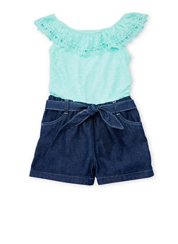 Girls 4-6X Limited Too Mint Lace and Denim Romper with Sash Belt - 1618060990002