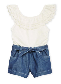 Limited Too Girls 4-6X Lace and Denim Romper - 1618060990003