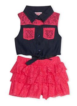 Girls 4-6x Denim and Pink Lace Romper - 1618060990009