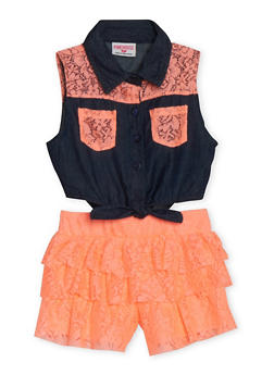 Girls 4-6x Sleeveless Denim and Coral Lace Romper - 1618060990010