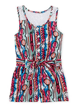 Girls 4-6x Printed Lace Back Romper with Sash Belt - 1618060990012