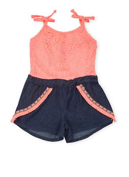 Girls 4-6X Limited Too Crochet and Denim Romper - 1618060990016