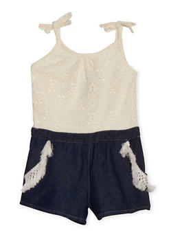 Girls 4-6X Limited Too Crochet and Denim Romper - 1618060990017