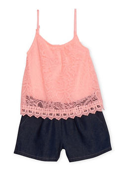 Girls 4-6X Limited Too Lace and Denim Romper - 1618060990019