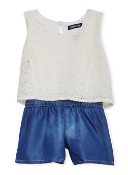 Girls 4-6x Crochet and Denim Romper - 1618060990026