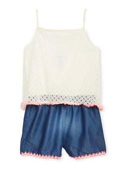 Limited Too Girls 4-6X Lace and Denim Romper - 1618060990050