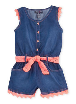 Girls 4-6x Limited Too Belted Chambray Romper with Crochet Trim - 1618060990053