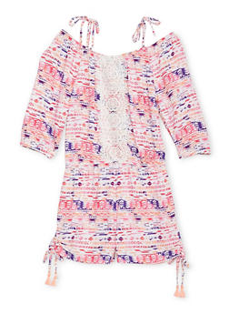 Girls 4-6X Limited Too Cold Shoulder Printed Romper with Crochet Trim - 1618060990055
