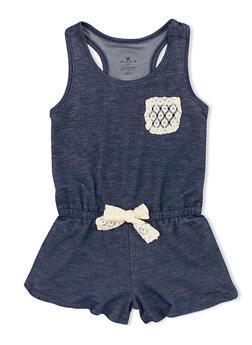 Girls 4-6x Denim Knit Romper with Crochet Accent - 1618061950001